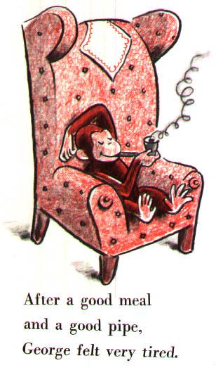 Curious George smoking a pipe
